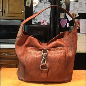 D&B Brown Pebbled Distressed Design Hobo Bag